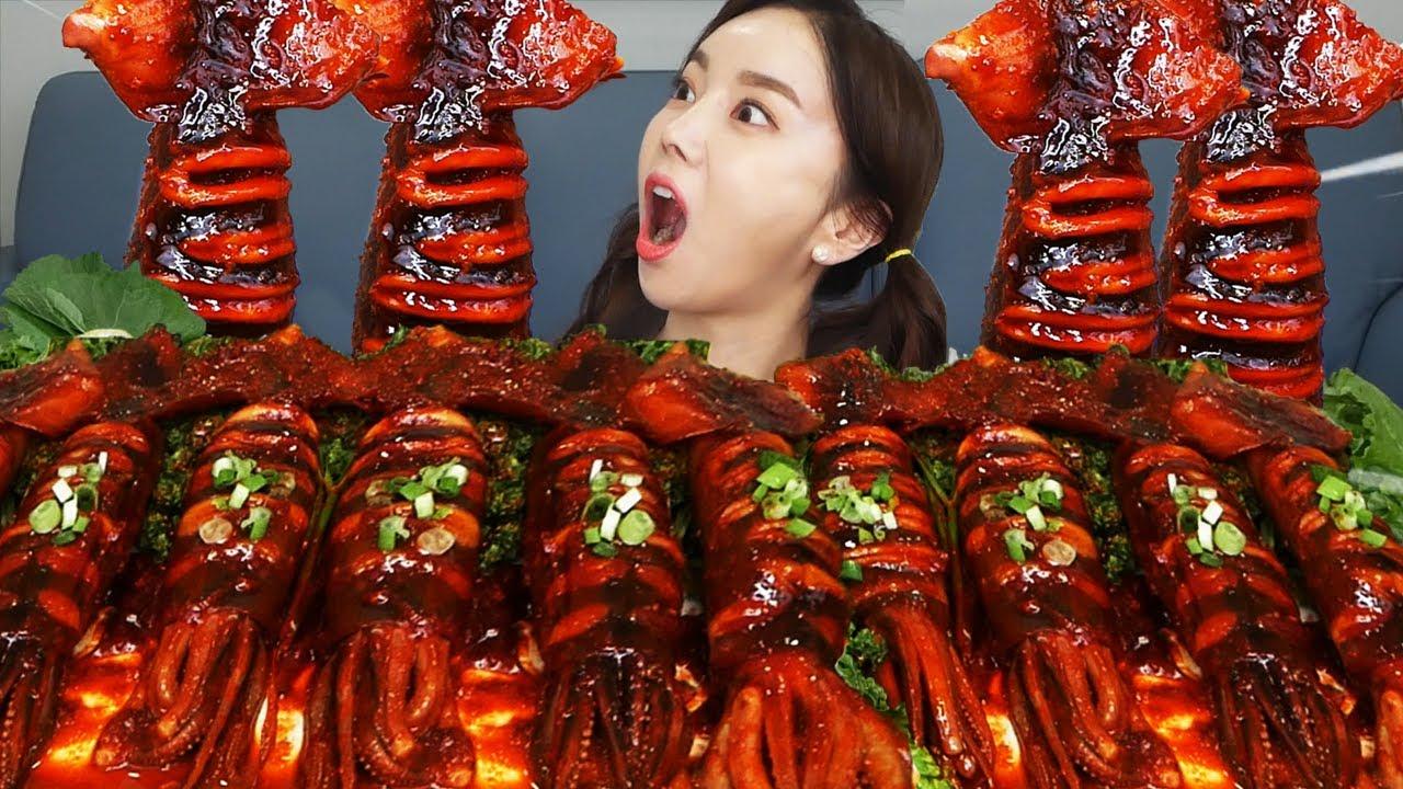 [Mukbang ASMR] 싱싱한💦 활 오징어 🦑 요리 삼종세트! Spicy Squid & Squid Sashimi & Steamed Squid Eatingshow Ssoyoung
