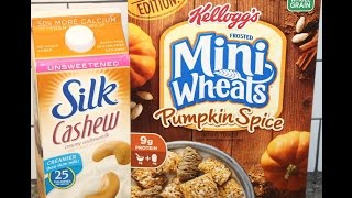 Kellogg's Pumpkin Spice Frosted Mini Wheats & Silk Unsweetened Cashew Milk Review