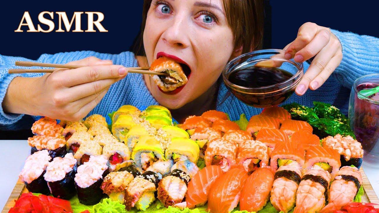ASMR SUSHI & SASHIMI PLATTER MUKBANG (No Talking) EATING SOUNDS | LILIBU ASMR