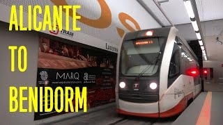 Train trip from Alicante to Benidorm, Costa Blanca, Spain - TRAM Alicante 4K