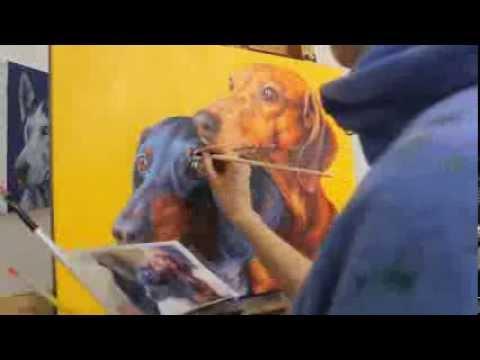 Painting Miniature Dachshunds: Dogality series pet portrait