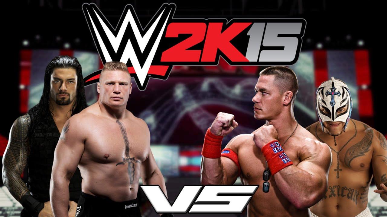 WWE 2k15: Brock Lesnar & Roman Reigns VS John Cena & Rey ...