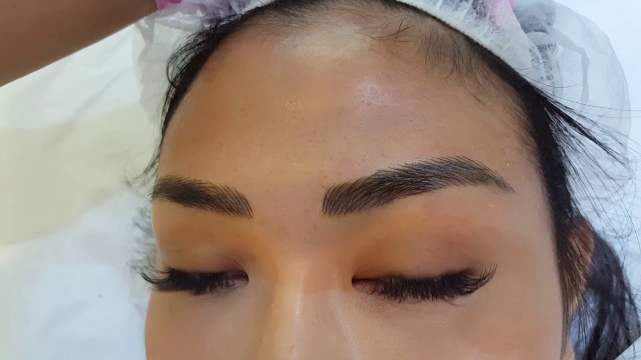 Fusion Microblading Hairstroke with Shading over old PMU Oriental Eyebrows  by El Truchan @ Perfect
