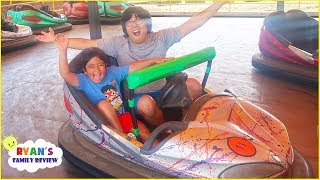 Ryan Rides Car and Construction Vehicles at Amusement Park!!!