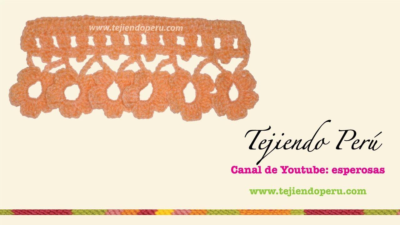 Borde tejido a crochet # 4: flores! - YouTube