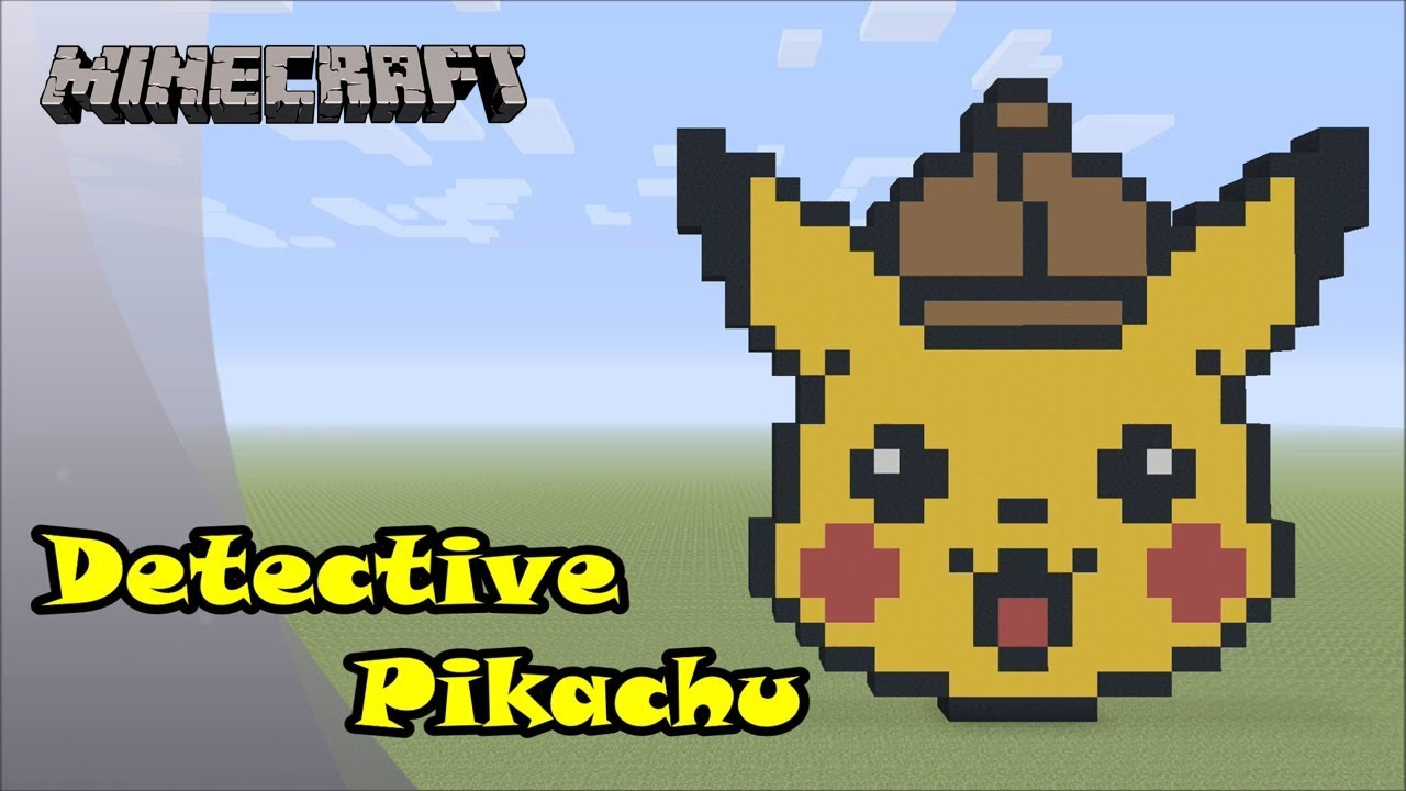 Minecraft Pixel Art Tutorial And Showcase Detective Pikachu