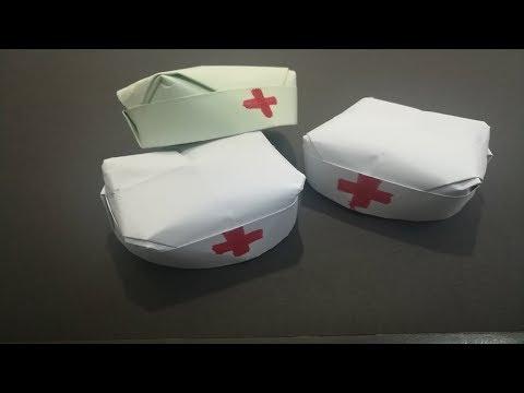 طريقة صنع قبعة ممرضة بالورق سهلة How to make an Easy Nurse Hat - Cap Doctor origami