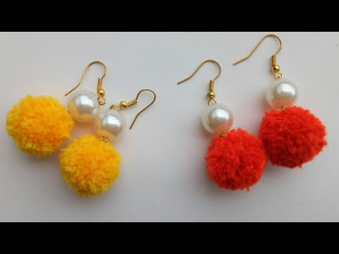 Diy Pom Earrings Dangle Making Pompom With Pearl Earring Poms
