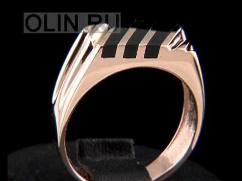 Золотой мужской перстень с черным камнем - YouTube