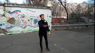 Кино-трюк №7 Жонглирование 4-мя мячами