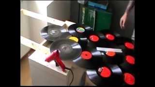 Paravent aus Schallplatten
