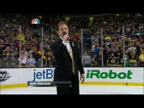 Rene Rancourt sings the National Anthem. May 25 2013 NY Rangers vs Boston Bruins NHL Hockey