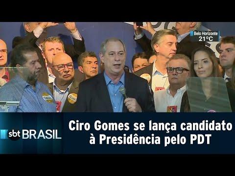 Ciro Gomes se lança candidato à Presidência da República pelo PDT   SBT Brasil (20/07/18)