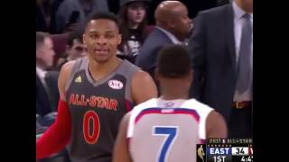 Kevin Durant throws alley-oop to Russell Westbrook curbing 2017 NBA All Star Game!