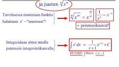 Potenssifunktion x^r ja juurien integrointi