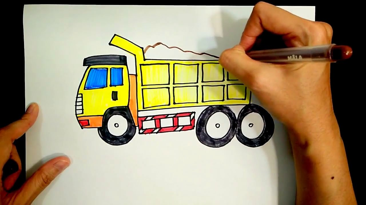 How to draw a lorry/ truck/ van/ freight train/ freight wagon/Dump truck【Ginger's place】