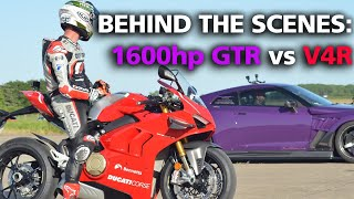 CarWow: Ducati Panigale V4R vs 1600hp Nissan GTR   Behind The Scenes