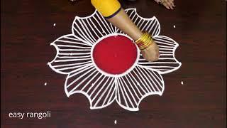 How To Draw a Creative Kolam Designs || Latest Color rangoli designs || muggulu with colors