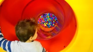 kids on the playground playing on a slide and eat eggs surprises FUNNY MOVIE