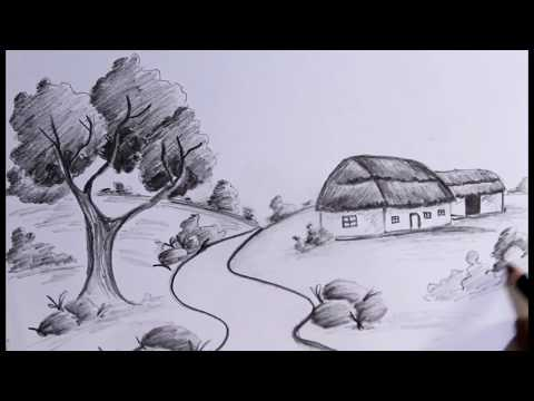 How to draw simple and easy landscape with pencil step by step