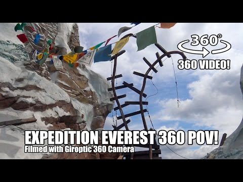 Expedition Everest 360 Roller Coaster POV Walt Disney World Animal Kingdom - Filmed w/ Giroptic 360