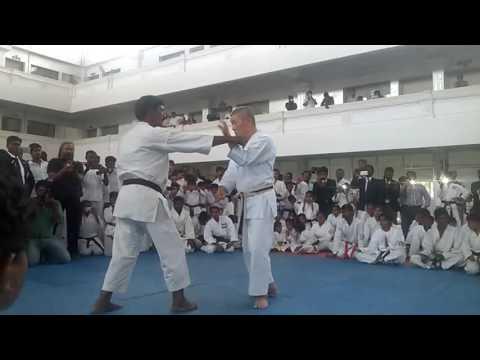 Grand Master TOMIMO KISHI demonstrate the kata SEIUNCHIN  in INDIA
