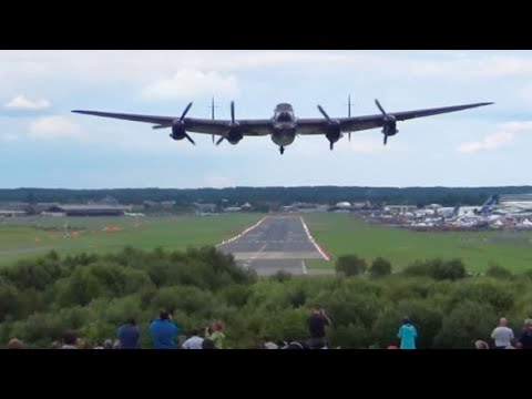 """🇬🇧 """" The Waving Bomb Aimer """". Awesome Sounding Lancaster Takeoff With Spitfire Lead."""