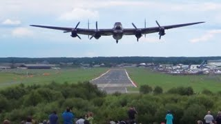 """ The Waving Bomb Aimer "". Awesome Sounding Lancaster Takeoff With Spitfire Lead."
