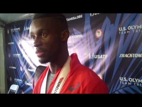Jarrion Lawson talks after qualifying to 2016 US Olympic team in men