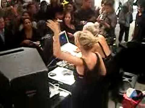 DJ Mia Moretti Spinning in DKNY @ NYC Fashion Night Out Sept 10 '09