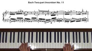 Bach Two-Part Invention No.11 in G minor BWV 782 Piano Tutorial