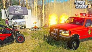 "CAMPERS SPARK FOREST FIRE ""VOLUNTEER FIREFIGHTERS""   FARMING SIMULATOR 2019"