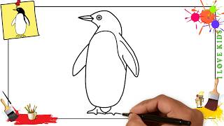 How to draw a penguin EASY & SLOWLY step by step for kids and beginners