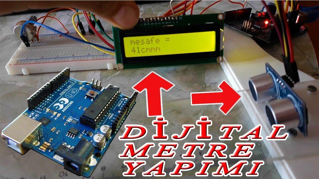 Arduino İle Mesafe Ölçer - Arduino Dijital Metre Yapımı (16x2 LCD Ekran Kullanımı)