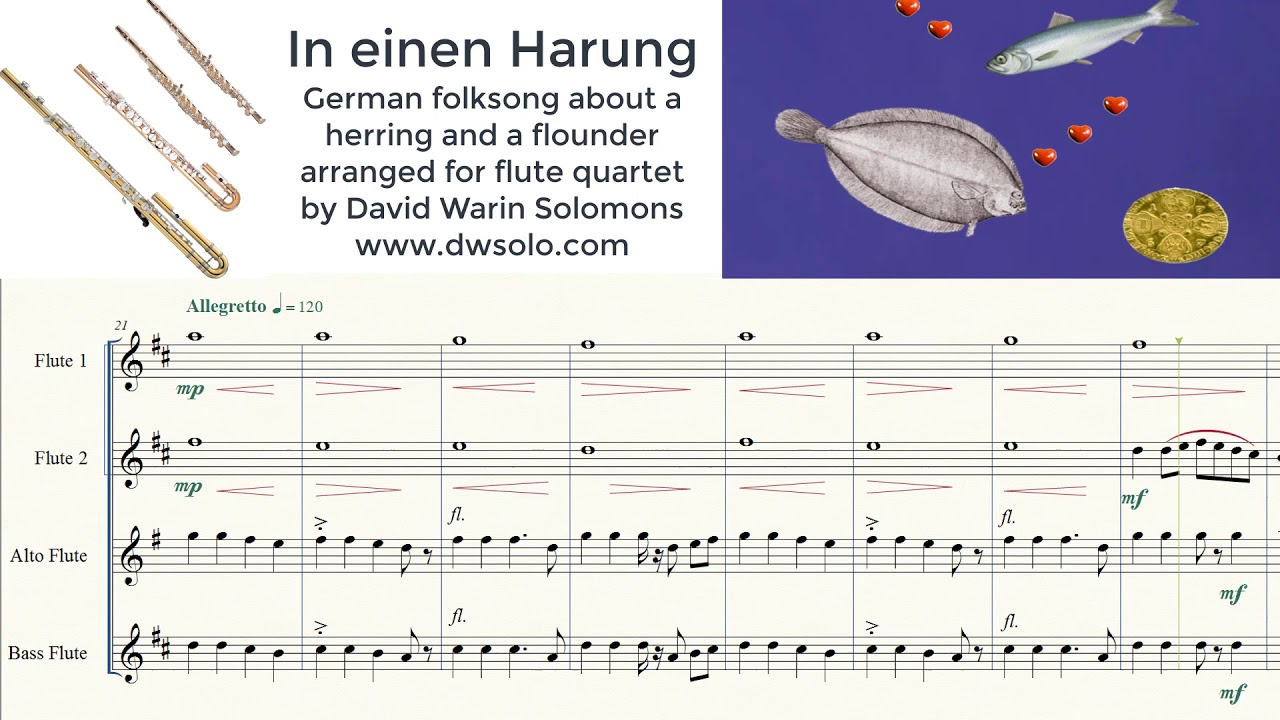 In einen Harung German folk song about a herring and a flounder arranged  for flute quartet