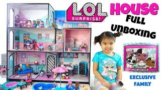 LOL Surprise Doll House Unboxing, First look!  Grand tour and meet the Exclusive Family, Kids Toys