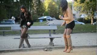 Repeat youtube video JULIE SKYHIGH & her friend in high heels & overknee boots