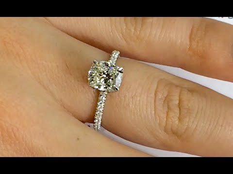 1 71 Ct Elongated Cushion Cut Diamond Two Tone Engagement Ring