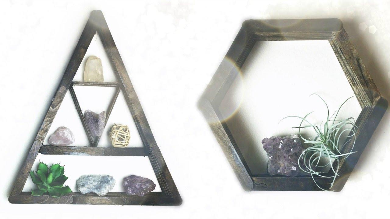 Diy Triangle Hexagon Shelf From Popsicle Sticks Youtube