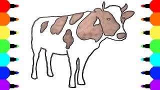 How to Draw Cow - Coloring Pages - Video for Kids
