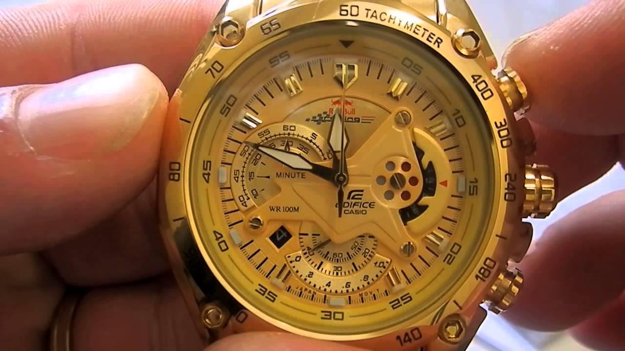 896046d40f5 Relógio Casio Edifice Ef-550fg-9av Original Dourado - YouTube