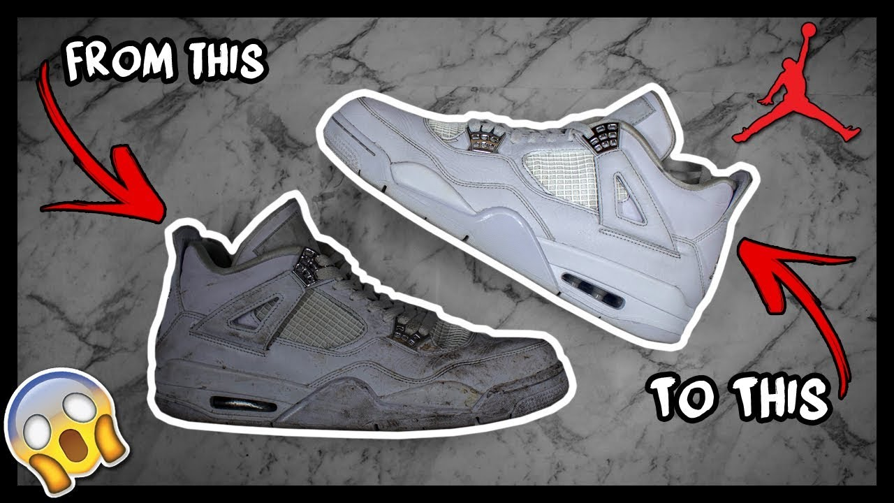 CLEANING FILTHY AIR JORDAN PURE MONEY 4'S TO LOOK NEW AGAIN!