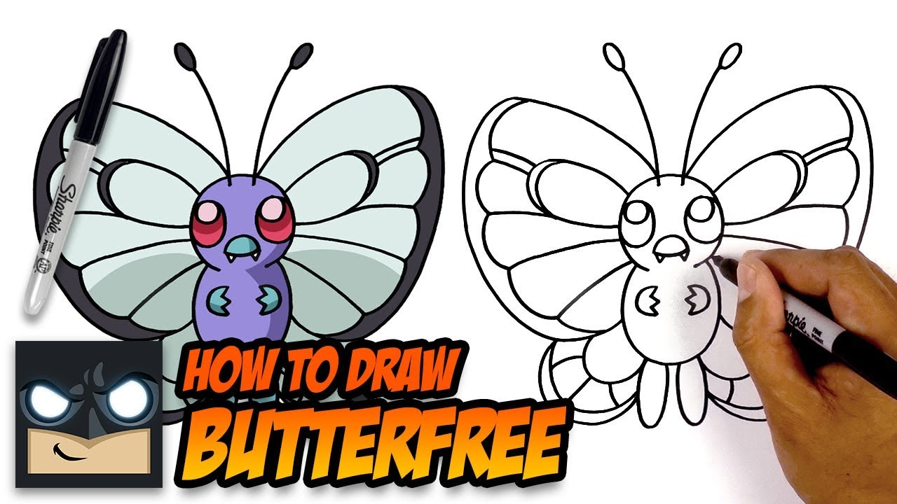 How To Draw Pokemon Butterfree Step By Step Tutorial Youtube