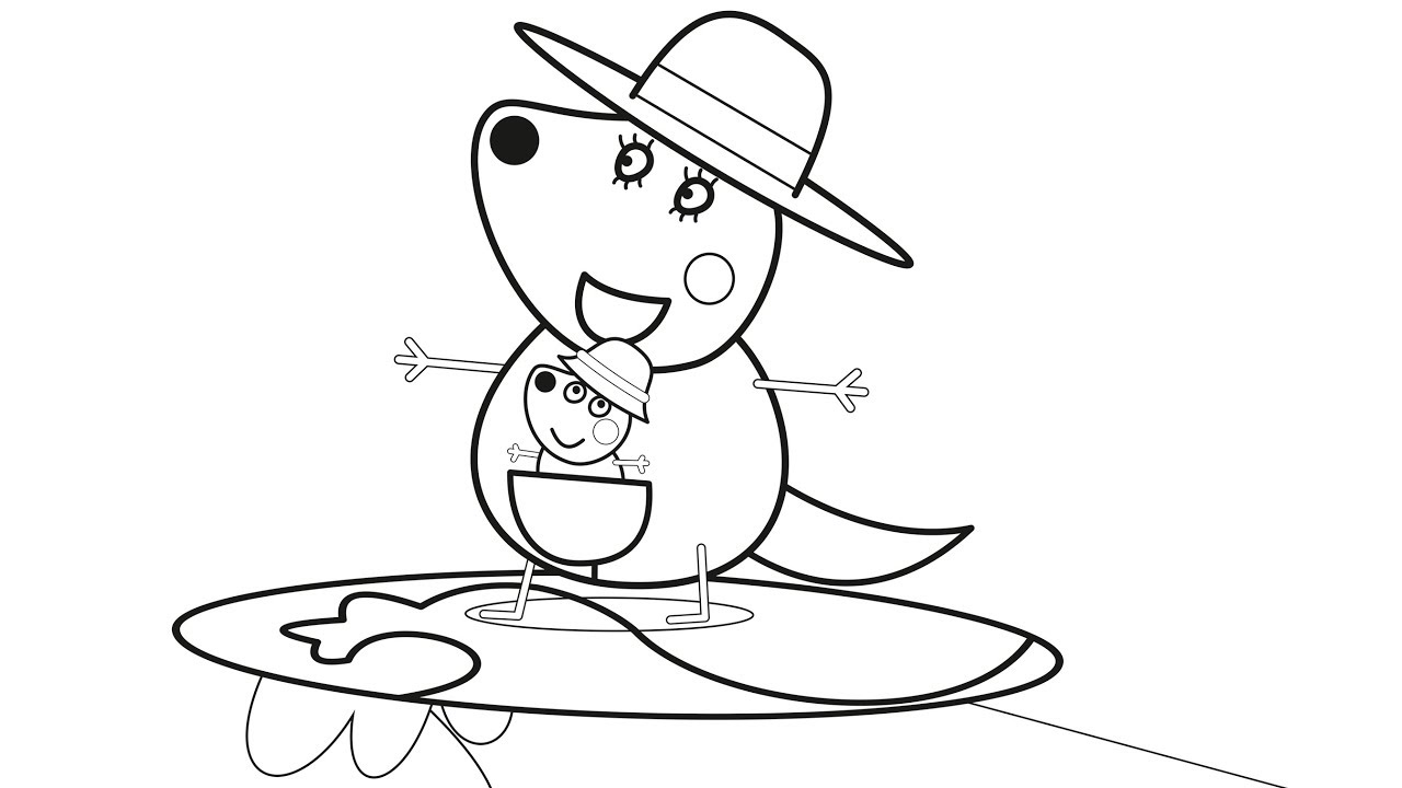 Peppa pig australian holiday coloring pages for children learn colors w drawing pages for kids