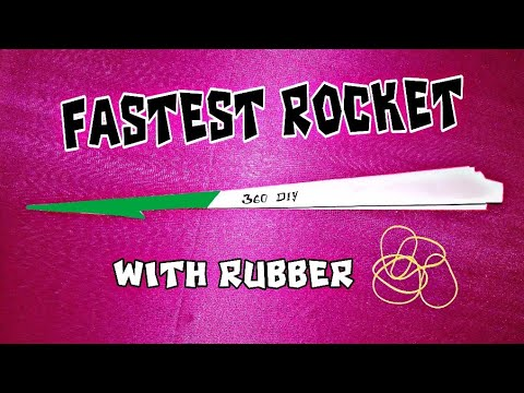THE FASTEST PAPER ROCKET IN THE WORLD WITH RUBBER POWER!  MUST SEE 360 DIY