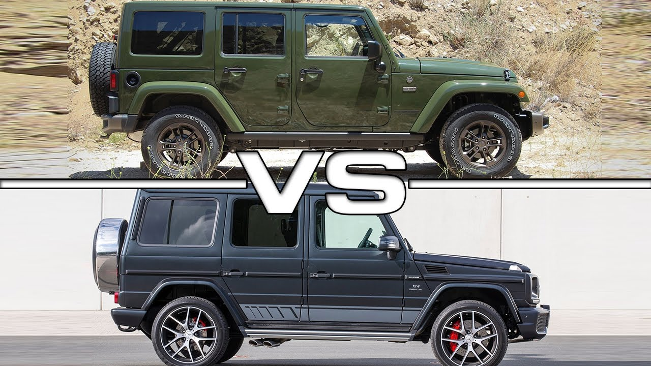 Mercedes g class vs jeep rubicon fiat world test drive for Mercedes benz jeep g class