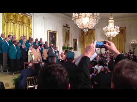 1972 Miami Dolphins Head Coach Don Shula Give President Obama A #72 Jersey