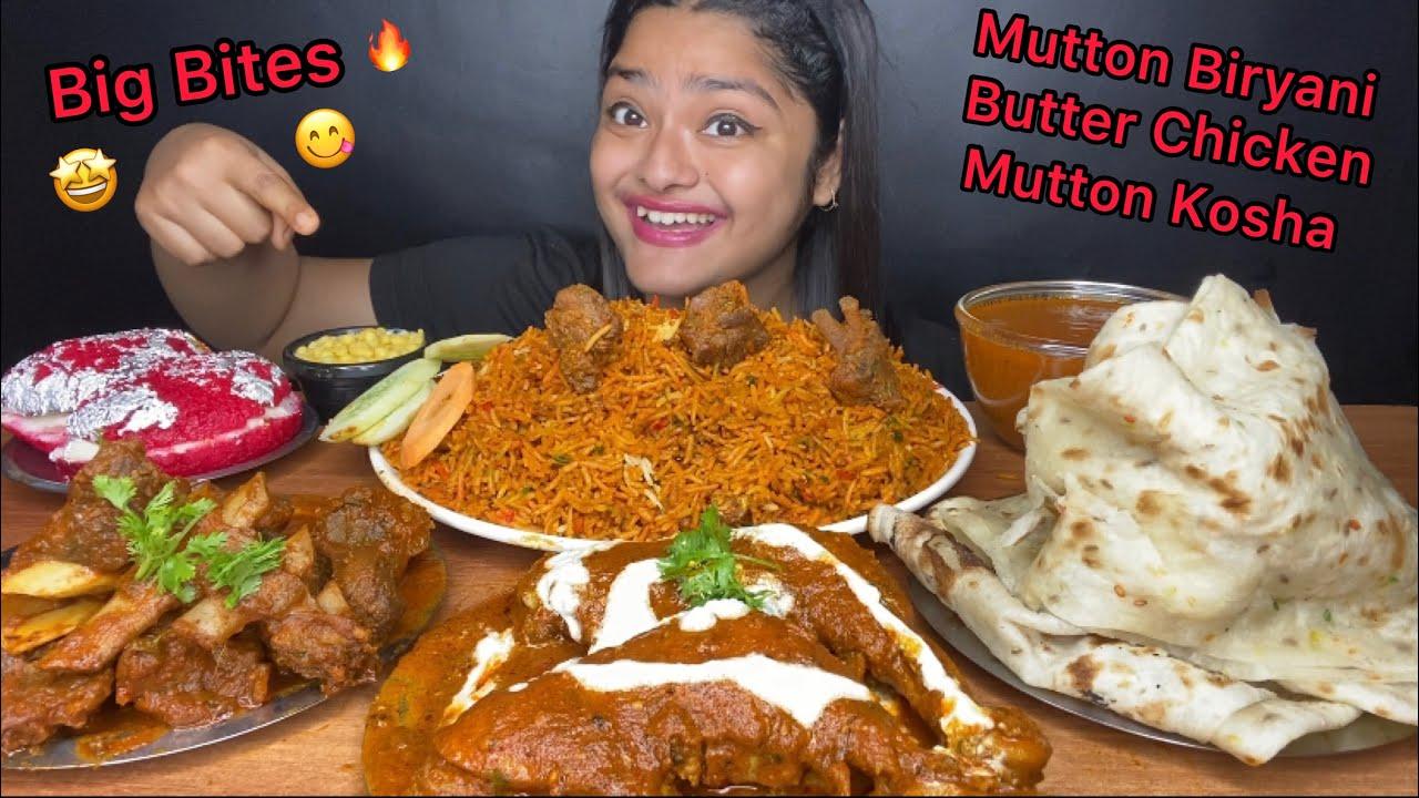 Download MUTTON BIRYANI, BUTTER CHICKEN, MUTTON KOSHA🔥WITH BUTTER NAAN AND MALAI SANDWICH | FOOD EATING SHOW