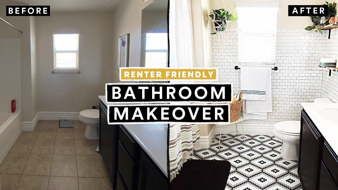 bathroom makeover under 300 renter friendly diy tile floor brick wall