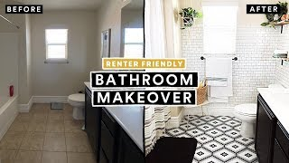 BATHROOM MAKEOVER UNDER $300 (Renter Friendly) + DIY Tile Floor & Brick Wall!